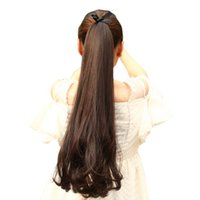 Wholesale Long Curly Ponytail Extensions - Long Curly Synthetic Ponytail Clip In Ponytail Claw Drawstring Ponytail Heat Resistant Clip In Hair Extensions Hair Tail