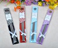 favores de palillos al por mayor-Venta caliente este nuevo palillos de Acero Inoxidable 100 Par / lote + boda de estilo chino favorece regalos envío gratis