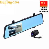 "Wholesale Camera Av Out - Hot 4.3"" LCD Bule Screen HD1080P V180 AV-OUT one Camera Rearview Mirror Viedo Recorder Blackbox G-Senser v180 Car DVR 010227"
