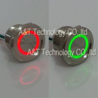 Wholesale Push Button Led Metal - Dual Led Color 12v 24v Red Green Illuminated Metal Anti Vandal Latching Push Button Piezo Electric Senor Switch Waterproof IP68