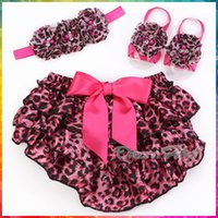 Wholesale Leopard Sandals Kids - Wholesale-Animal Girl ruffle bloomers baby headband Sandal Set,Newborn photography prop Leopard pants,kids Diaper Cover shorts #3T0202