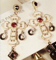 Wholesale Jade Crosses - Baroque style big cross earrings vintage dangle earrings for women new fashion jewelry wholesale free shipping