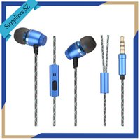 Wholesale Headphones Line Microphone - Metal Earphones with Microphone Volume Control In-Ear Earbud Headphones Noise Isolating Earbuds Rounded Luminous TPE line Fashion SY-M101A