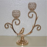 Wholesale Tall Crystal Candle Holders - 2-arms metal candelabras 54 cm tall shiny golden candlesticks wedding bird patter candle holder home hotel decoration