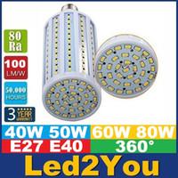 ampoule de maïs haute puissance achat en gros de-E40 B22 E27 a mené les lumières de maïs SMD 5730 la puissance élevée 40W 50W 60W 80W a mené l'angle d'ondes à CA 85-265V ce ul