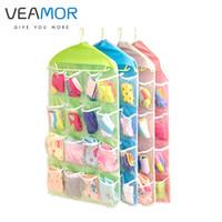 Wholesale underwear container - Wholesale- VEAMOR 16 Grid Clothing Socks Underwear Storage Container Walls Hang Bag Wardrobe Door Pocket Sorting Bags WB568