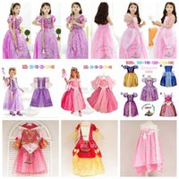 Wholesale Girl Fluffy Sleeve - kids princess dress sofia princess sofia purple sophia dress kids girls Cosplay Costume Party princess fluffy dress free shipping in stock