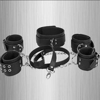Wrist & Ankle Cuffs black leash - Dog Slave Wrists Ankles Collor With Leash Restraint Bondage Gear High Quality PVC Leather Master Slave Role Play Product