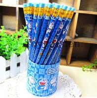 standart ahşap kalemler toptan satış-ÜCRETSIZ KARGO 72 adet / 1 kutu Doraemon Kırtasiye Öğrencilerin Yazma Malzemeleri HB Ahşap Siyah Kalemler Çocuklar Silgi Ile Standart Kalemler