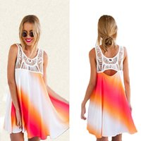 Wholesale Rainbow Dress Maxi - Dresses sexy women clothes fashion plus size lace summer clubwear casual midi dresses for women maxi stitching rainbow dress boho clothing