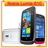 telemóveis lumia venda por atacado-Venda de férias Desbloqueado 610 Original Nokia Lumia 610 Do Telefone Móvel Do Windows 8 GB Câmera de Armazenamento 5.0MP GPS Wifi 3G Telefone Inteligente