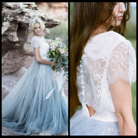 Wholesale Princess Fairy Dresses - 2018 Fairy Beach Boho Lace Wedding Dresses Jewel Neck A Line Soft Tulle Cap Sleeve Backless Light Blue Skirts Plus Size Bohemian Bridal Gown