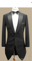 Wholesale Mens Wedding Tuxedo Tails - Custom made men suit,black swallow-tailed coat mens wedding suit,mens tuxedos(Jacket+pants+tie+pocke