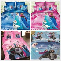 Wholesale Duvet Cover Princess - Cartoon Frozen Princess Elsa Duvet Comforter Cover Bed Sheet Pillowcase Set