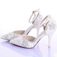 perlas genuinas para la boda al por mayor-Zapatos de boda de punta estrecha sexy marfil moda perlas de fiesta de cuero genuino tacones de prom tobillo correas de diamantes de imitación de las mujeres bombas