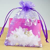 маленькие пурпурные подарочные пакеты оптовых-Wholesale- 100pcs/lot Purple Organza Bag 7x9cm Small Jewelry Boutique Gift Packaging Bag Cute Organza Christmas Gift Drawstring Bags
