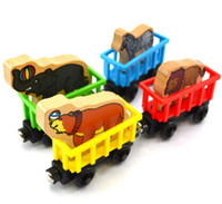 Wholesale Wooden Toy Lion - Wooden Railway Circus Train Animal Train Set ( Zebre, Elephant, Wolf, Sea lion ) 4 Style Assorted
