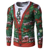 Wholesale 3d Fake Shirts - New Fashion Men Long Sleeves T Shirt Christmas Tree Printed Autumn Winter 3D Fake Tie Festival Clothes