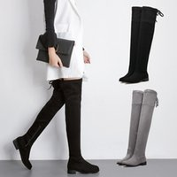Sexy Super High Heel sobre as botas do joelho Back Knee Boots High Quality Stretch Fabric Suede Ladies Shoes Woman Rubber Sole