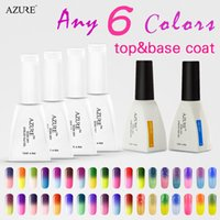 Wholesale Gel Color Nails Tips - Azure Nail Gel Polish French Pick 6 Color UV Lamp LED Soak Off French Tips Kit Top Coat Base Coat free shipping