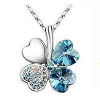 Wholesale Clover Flower Necklace - Hotsell 10KGP necklaces for women Austrian Crystal four Leaf Leaves Clover heart rhinestones necklace pendant jewelry wholesale 00607