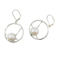 Wholesale Love Earrings For Sale - Skillful artificial round 925 silver earrings hot sale girls love freshwater pearl cute design for E6117F