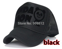 Wholesale Panda Caps Mesh - Wholesale-Free Shipping PANDA SPOON letters truck cap New flocking mesh hat Snapbacks caps, hat circumference 56--59cm 2 color