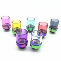 Wholesale Pyrex Dct - Rainbow Glass Wide Bore Drip Tips Rich Colors Pyrex Glass Rainbow Stainless Steel Drip Tip for CE4 DCT velocity RDA RBA Tank Atomizer