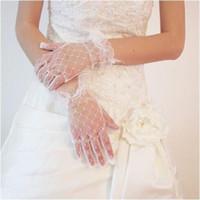 Wholesale White Tulle Gloves - 2015 Wedding Dresses Cheap Full Finger Bridal Gloves Tulle Short Gloves Wrist Length Wedding Gloves Bridal Gloves