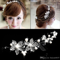 Wholesale Cheap Faux Pearl Jewelry - 2015 Cheap Hot Spring Bridal Tiaras Crowns In Stock Headband Wedding Hair Accessories Faux Pearl Flower Shiny Crystal Tiara Bridal Jewelry
