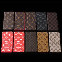 Wholesale Mobile Case Wallet - Luxury brand printing leather mobile phone case for iphone 6 6plus 7 7plus mobile phone wallet case for iphone X 8 8plus Samsung S8 S8plus