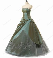 Wholesale Strapless Taffeta Floor Length - Hot Quinceanera Dresses Cheap Strapless Ruched Taffeta With Embroidery Ball Gown Sweet 16 Debutante Girls Masquerade Dress Gowns In Stock