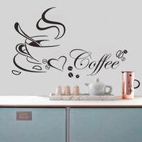 café copo copo venda por atacado-Copo de café com coração citação vinil Restaurante Cozinha removível adesivos de parede DIY decoração da sua casa arte da parede MURAL Drop Shipping JIA214