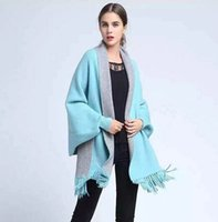 Wholesale Two Side Poncho - 2015 Fashion Cashmere Batwing Cardigan Oversize Women Poncho Shawls Scarf Two Side Wearing