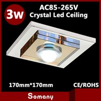 Wholesale Modern Furniture Lamps - Wholesale-4pcs 17cm*17cm Kitchen Mounted   Recessed Spot Furniture Light 5730SMD Stainless Steel Modern Crystal Square 3W Led Ceiling Lamp