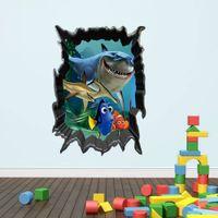 Wholesale Underwater Wall Murals - HOT SALE 1438 new hot shark underwater world children's room bedroom wall stickers removable waterproof wholesale trade