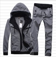 Wholesale Spring Hooded Jacket Mens - Fall spring winter new men's Hoodies Outerwear +pants fashion casual sportswear men suit jacket mens tracksuits sport suits