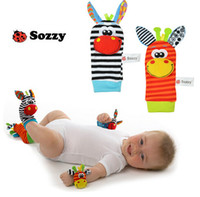 Wholesale Baby Christmas Stockings - Cute Baby Sozzy Infant Soft Cartoon Toy Wrist Rattles socks kids Beauty finders Developmental wristband stripes stocking 2015 Christmas gift