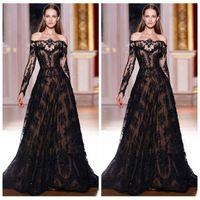Wholesale Elie Saab Dresses For Sale - New 2016 Elie Saab Black Evening Dresses For Sale Off The Shoulder Black Lace Long Sleeves Prom Gowns Evening Custom Zuhair Murad