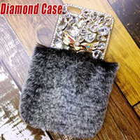 Rex Rabbit Hair Warm Fur Soft Plush Leather TPU Case Real Luxo Bling Diamond Rhinestone Shockproof Back Cover para iPhone X 8 7 Plus 6 6S