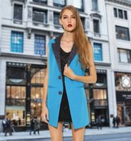 Wholesale Casual Cotton Blazer Womens - New 2015 Women Sleeveless Small Suit Vests Waistcoats Fashion Spring Casual Blazer Slim Pockets Splice Outerwear Womens Vest Jacket