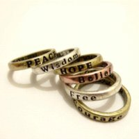Wholesale Ring Hope - 300pcs New Wholesale lots Hope Love Wisdom Peace Belief Courage Letter Rings Word Lettering Ring free shipping RL207