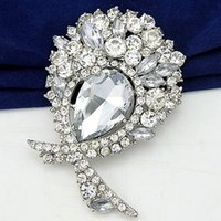 Wholesale large diamante brooches resale online - Vintage Silver Plated Stunning Diamante Big Bow Brooch Elegant Large Waterdrop Glass Crystal Bling Bling Huge Brooch Pins