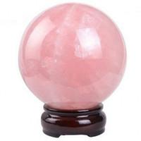 Wholesale Crystal Ball Ring Pink - Shellhard 30mm Natural Pink Rose Quartz Magic Crystal Healing Ball Sphere + Stand