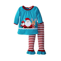 Wholesale childrens clothes online - 2017 girls christmas outfits fall boutique kids clothing sets baby santa reindeer polka dot tops striped ruffle pants childrens clothes