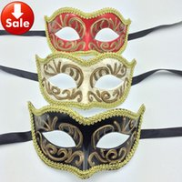 Wholesale Noble Women Costumes - Luxury Party Masks Noble Man Mask Elegant Masquerade Mask Cosplay Costume Sexy Woman Costume Halloween Mask wedding gift free shipping