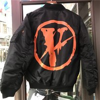 Wholesale Air Force Overcoat - Vlone Jacket Men High Quality MA-1 Bomber OFF WHITE Pop Up Papking Fragment Alpha Industries Overcoat Flight Air Force Pilot Vlone Jacket