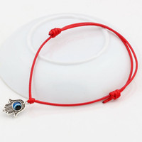Wholesale Red String Hamsa - Hot ! Adjustable Bracelet . 100 pcs Hamsa Hand String Evil Eye Lucky Red color wax Cord Adjustable