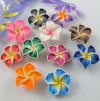Wholesale Diy Loose Ceramic Beads - 150pcs lot Colorful Polymer Clay Plumeria Flower Beads 15mm Beads Loose Beads Hot sell Jewelry diy