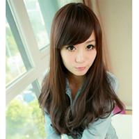 perruques de longueur moyenne ondulées brunes achat en gros de-WoodFestival perruque de longueur moyenne brune longue perruque de cheveux synthétiques ondulés noir perruque haute température brune